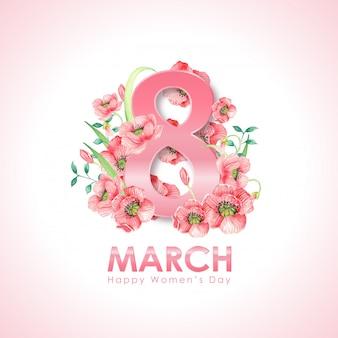 水彩花カードと女性の日