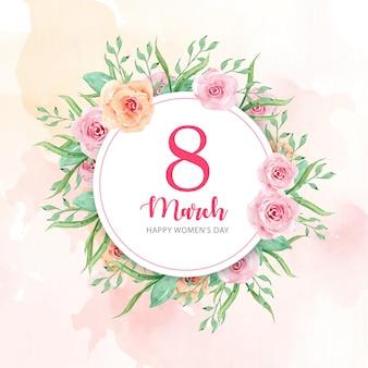 水彩花の背景を持つ女性の日