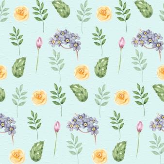 Акварельные ботанические элементы бесшовный фон