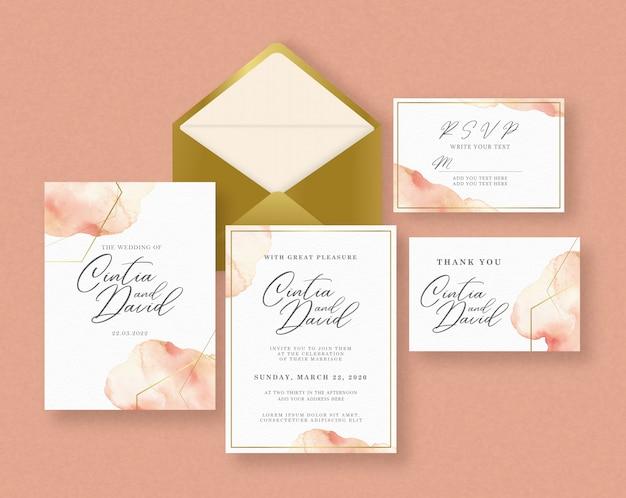 スプラッシュバックグラウンド結婚式カード招待状セットテンプレート