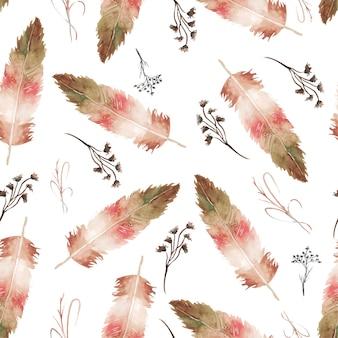 水彩羽とシームレスな花柄