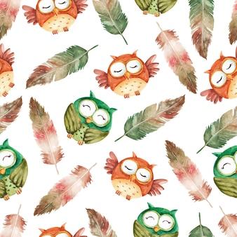 かわいいフクロウのキャラクターと羽水彩シームレスパターン
