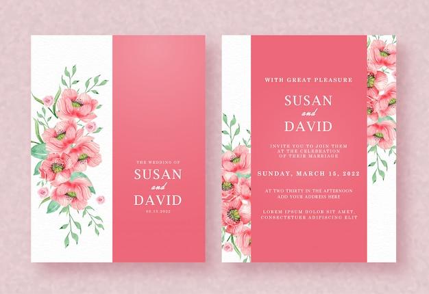 赤とピンクの花のテンプレートでの結婚式の招待状