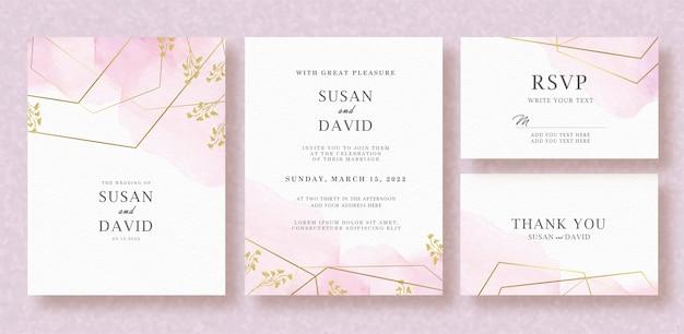 ピンクのスプラッシュ水彩背景入り結婚式招待状