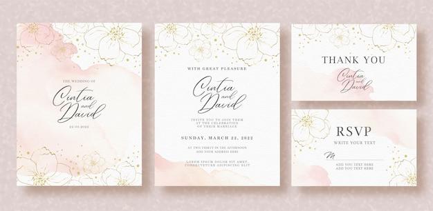 Красивая свадьба пригласительный билет шаблон с всплеск и цветочная акварель