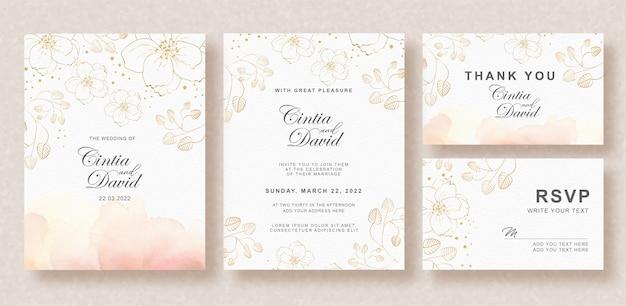 スプラッシュの背景と花の水彩画の美しい結婚式の招待カードテンプレート