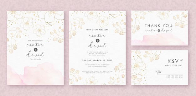スプラッシュと花の水彩画と美しい結婚式の招待カードテンプレート