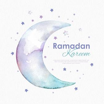 月と星のかわいい水彩ラマダンカリーム背景