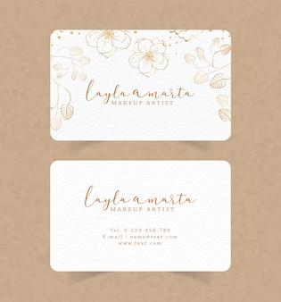 Шаблон визитной карточки с цветочным акварельным фоном