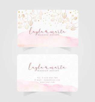 Визитная карточка розовый всплеск акварель и цветочный фон