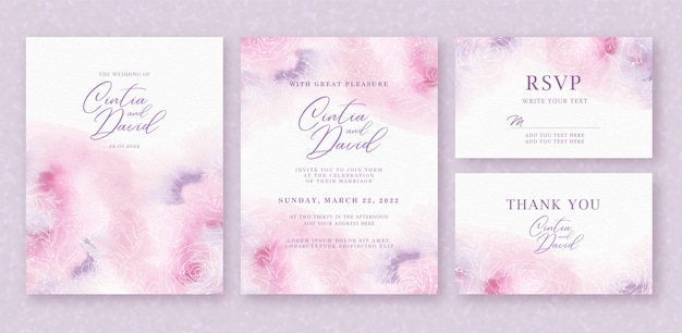 ピンクパープルの抽象的な背景を持つ美しい結婚式の招待カードテンプレート