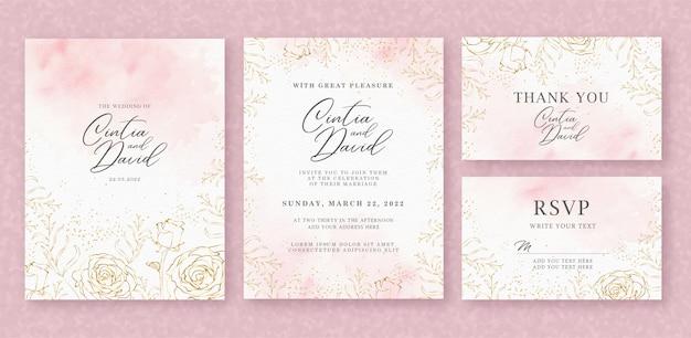 ピンクの水彩画の背景を持つ美しい結婚式の招待カードテンプレート