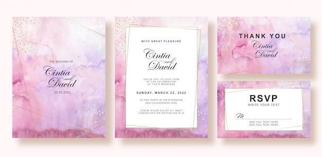 美しい混合色の結婚式の招待状水彩画