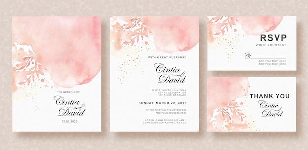 美しいスプラッシュと花の形の水彩結婚式の招待状セット