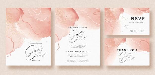 美しいスプラッシュ結婚式招待状セット