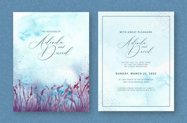 結婚式の招待状のテンプレートに美しい紫の花の水彩画