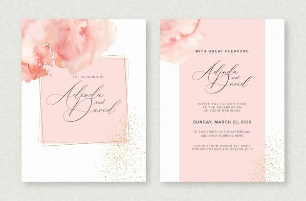 結婚式の招待状のテンプレートに美しいスプラッシュ水彩画