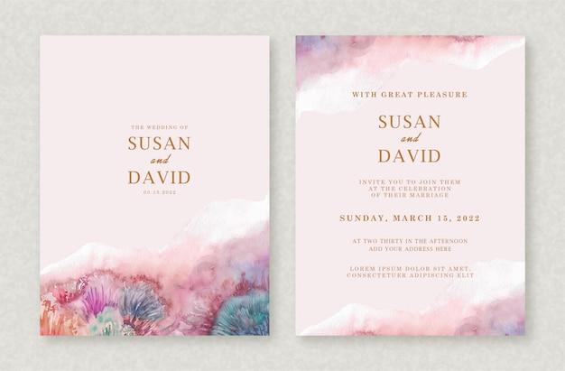 スプラッシュ結婚式招待状セットの美しいブラシ形状