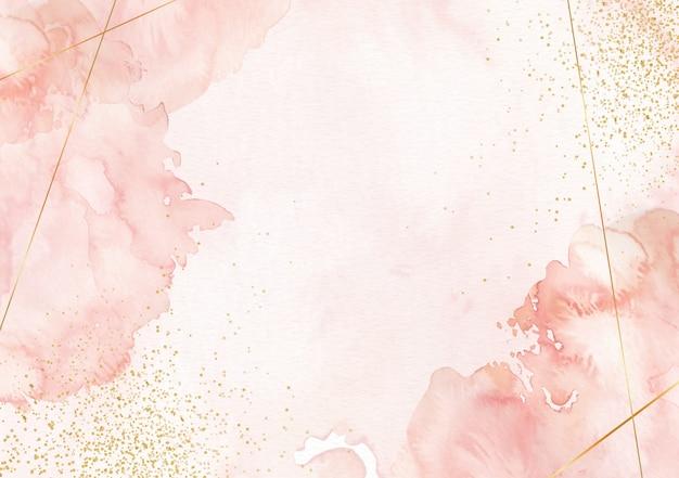 ゴールドのラインと輝きのあるスプラッシュ水彩画