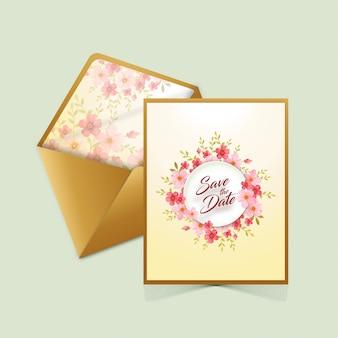 封筒付きの日付カードを保存する