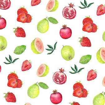 水彩果物パターン背景
