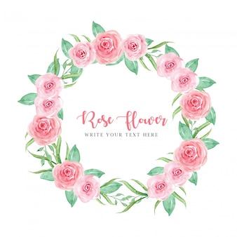 花輪フレームピンクのバラ