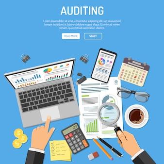 監査、税務プロセス、会計の概念
