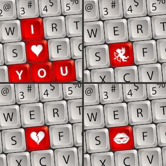 愛のアイコンとコンピューターのキーボード
