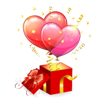 День святого валентина концепция с сердечками и подарочной коробке