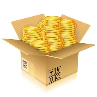 金貨と段ボール箱