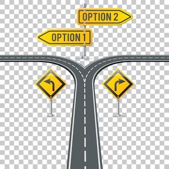 道標とタイムライン道路インフォグラフィック