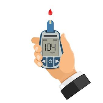 Глюкометр в руке