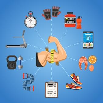 Фитнес и тренажерный зал концепция