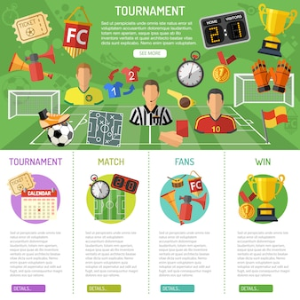 サッカーバナーとインフォグラフィック