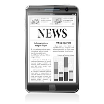 コンセプト - デジタルニュース。画面にビジネスニュースが表示されたスマートフォン