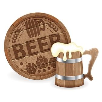 ビールの樽と木製マグカップ