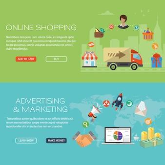 オンラインショッピングとマーケティングのバナーセット