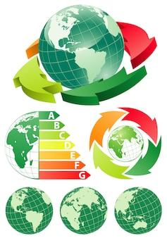 エネルギー効率の矢印の付いた地球