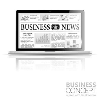Концепция - цифровые новости. ноутбук с деловыми новостями