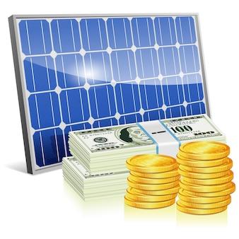 お金と太陽電池パネル
