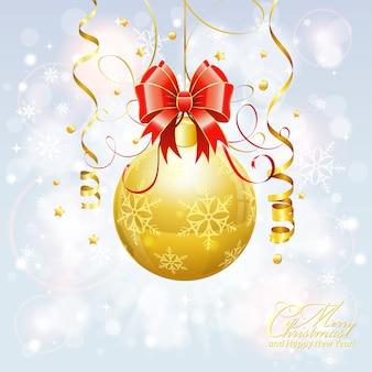 Рождественский фон с золотым шаром