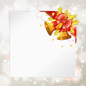 Рождественская рамка с колокольчиком и украшением из ленты