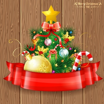 Веселая рождественская открытка с елкой и лентой