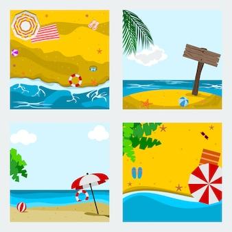 編集可能な夏のビーチのベクトルイラストセット
