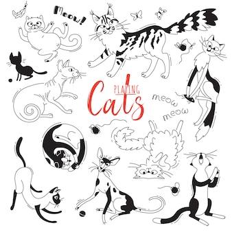 さまざまな品種の猫を遊んで設定します。落書き漫画のスタイルの文字猫。