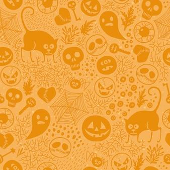 ハロウィーンのシームレスなパターン。
