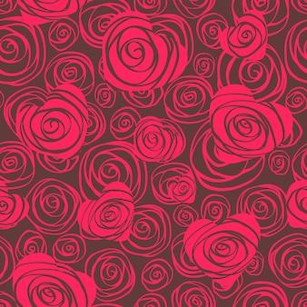 心とバラで抽象的なシームレスパターン