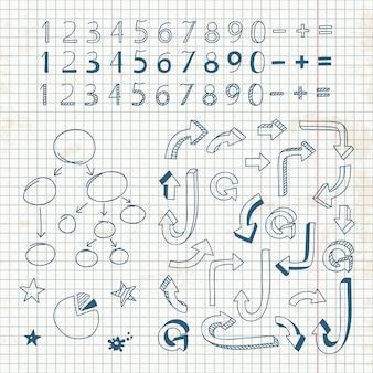 手描きの数字、矢印、記号のセット
