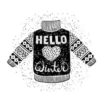 Привет зимний текст и вязаный шерстяной пуловер с сердечком.