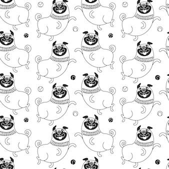 面白いパグのシームレスなパターン。うれしそうな犬と背景